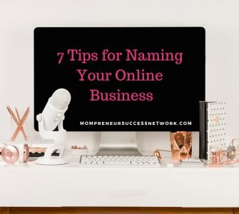 Computer screen with the words 7 tips for naming your online business